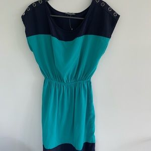 two tone blue and teal dress